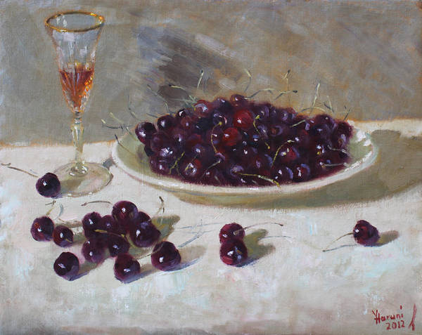 Cherry Wall Art - Painting - Cherries by Ylli Haruni