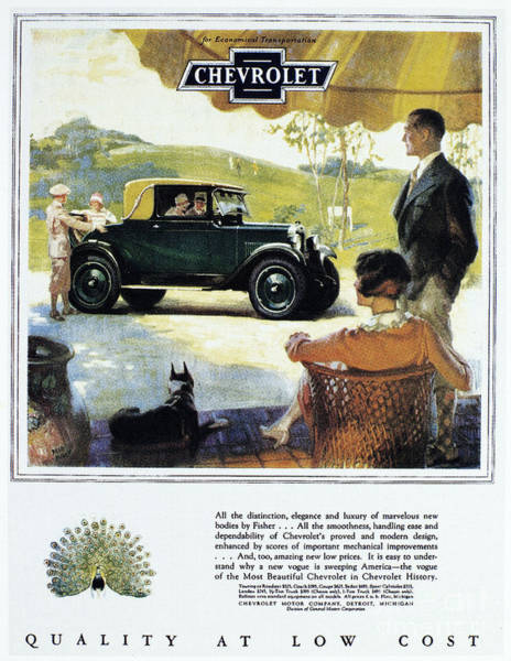 Photograph - Chevrolet Ad, 1927 by Granger
