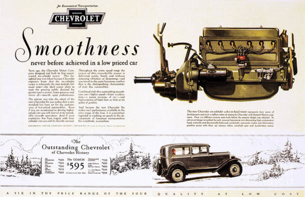 Photograph - Chevrolet Ad, 1929 by Granger