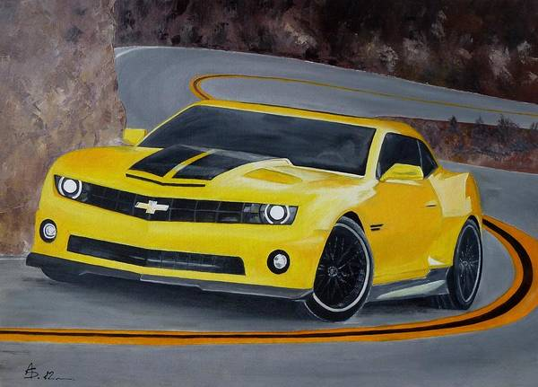 My Son Painting - Chevy Camaro Hennessey by Amalia Suruceanu
