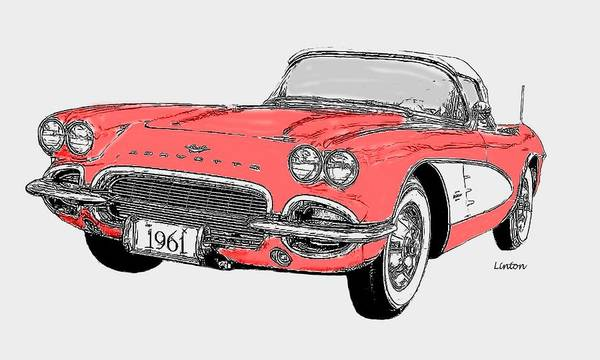 Digital Art - Chevy Corvette 2 by Larry Linton