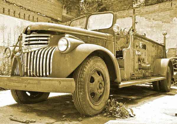 Vintage Fire Truck Photograph - Chevy Firetruck  by Betsy Knapp