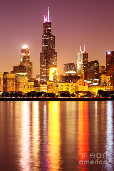 Chicago Photograph - Chicago At Night With Willis-sears Tower by Paul Velgos