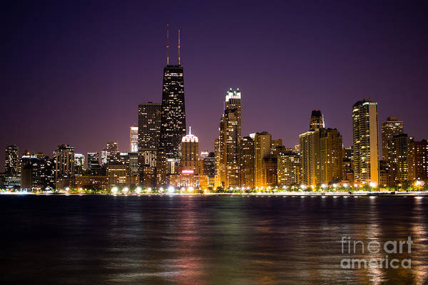 Chicago City At Night Photo Art Print
