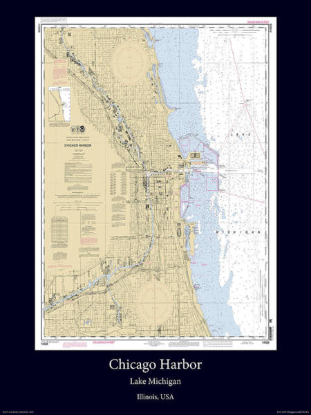 Noaa Chart Wall Art - Photograph - Chicago Harbor by Adelaide Images