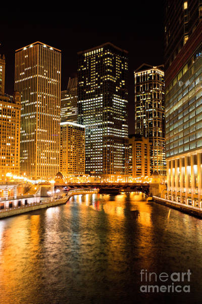Wabash Avenue Wall Art - Photograph - Chicago Illinois At Night by Paul Velgos