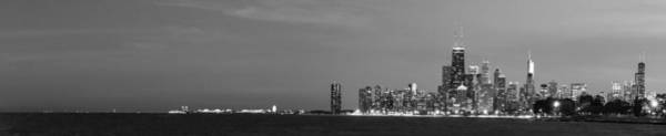 Hancock Tower Photograph - Chicago Skyline At Dusk In Black And White by Twenty Two North Photography