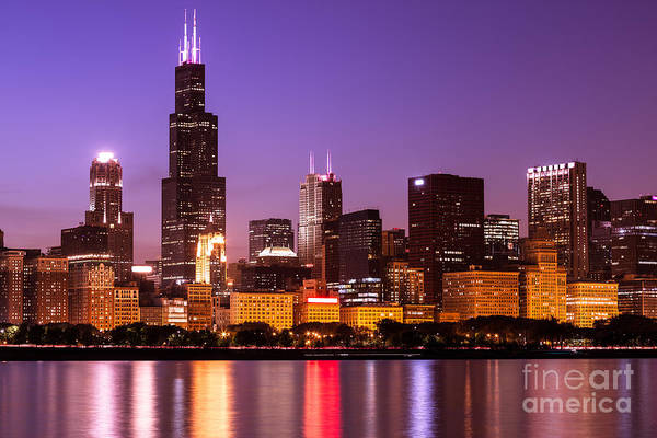 Sears Tower Photograph - Chicago Skyline At Night High Resolution Image by Paul Velgos