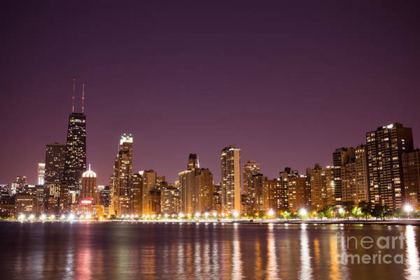 Chicago Skyline At Night Photo Art Print