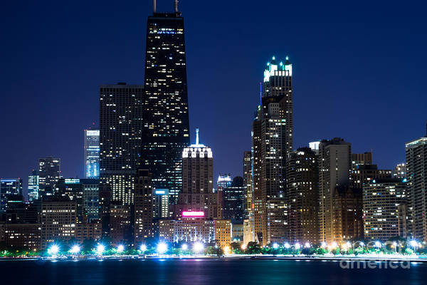 Chicago Skyline At Night With John Hancock Building Art Print