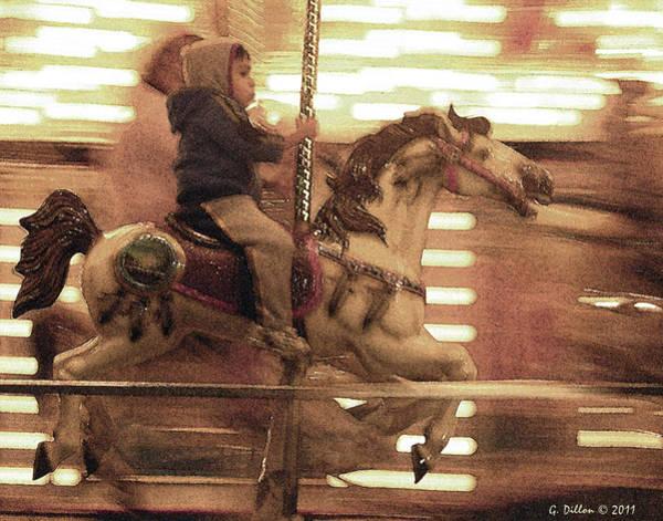 Child On Carousel Art Print