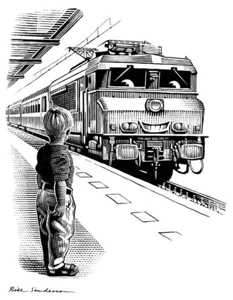 Linocut Wall Art - Photograph - Child Train Safety, Artwork by Bill Sanderson