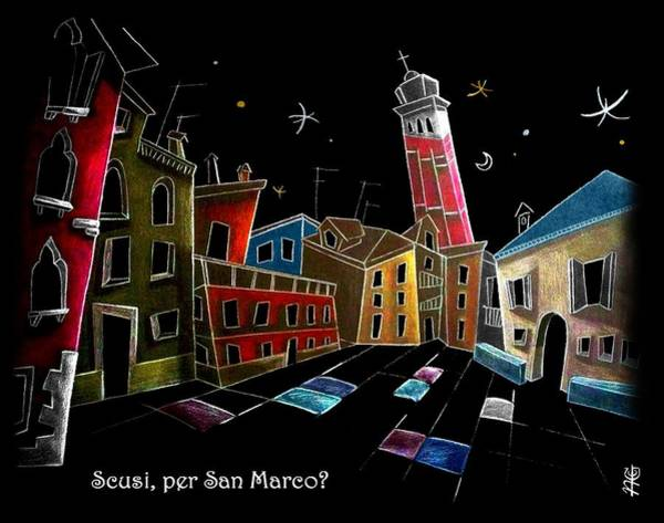 Wall Art - Drawing - Children Book Illustration Venice Italy - Libri Illustrati Per Bambini Venezia Italia by Arte Venezia
