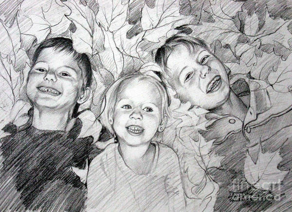 Drawing - Children Playing In The Fallen Leaves by Christopher Shellhammer