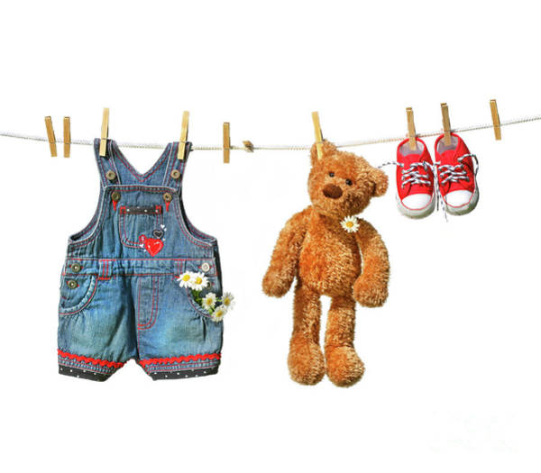 Photograph - Children's Clothes With Teddy Bear On Clothesline by Sandra Cunningham