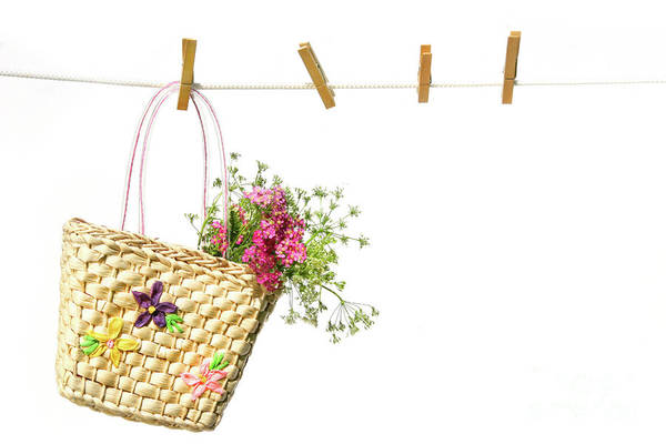Photograph - Child's Straw Purse With Flowers by Sandra Cunningham
