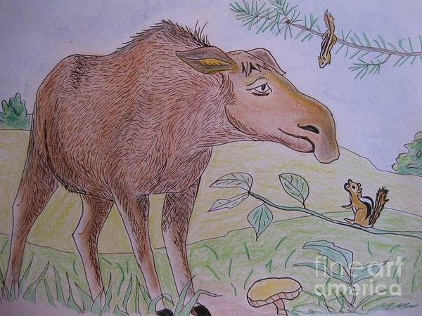 Painting - Chipmunks Tease Mildred The Moose by Stella Sherman