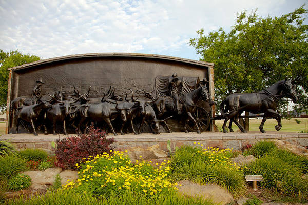 Historical Marker Photograph - Chisholm Trail Monument by Toni Hopper