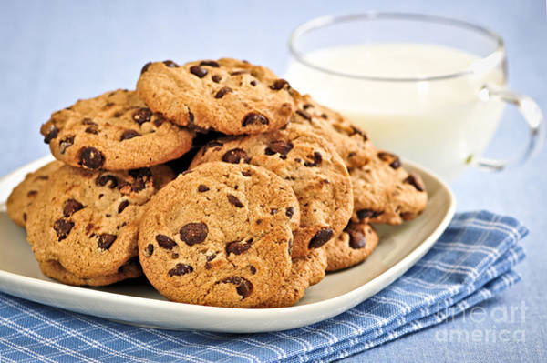 Milk Photograph - Chocolate Chip Cookies And Milk by Elena Elisseeva