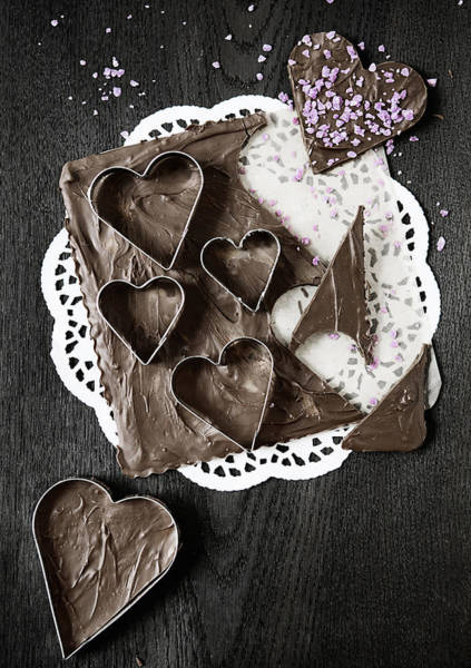 Vertical Line Photograph - Chocolate Honey Cakes In Heart Shape by Cultura/Line Klein