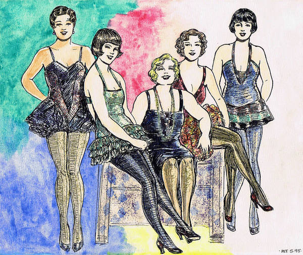 Flappers Drawing - Chorines by Mel Thompson