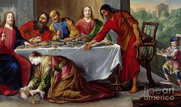 Wall Art - Painting - Christ In The House Of Simon The Pharisee by Claude Vignon