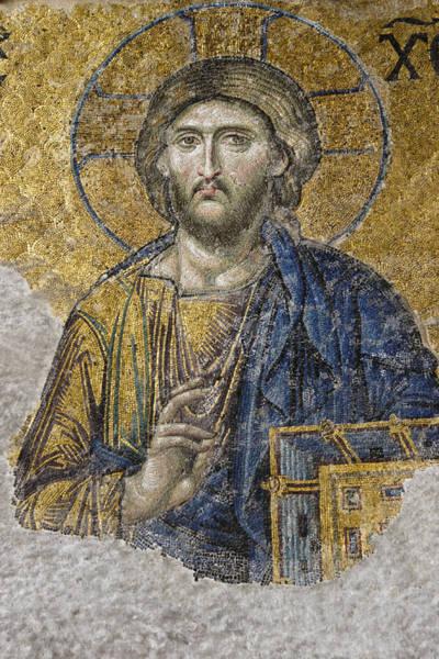 Sancta Sophia Photograph - Christ Mosaic by Michele Burgess