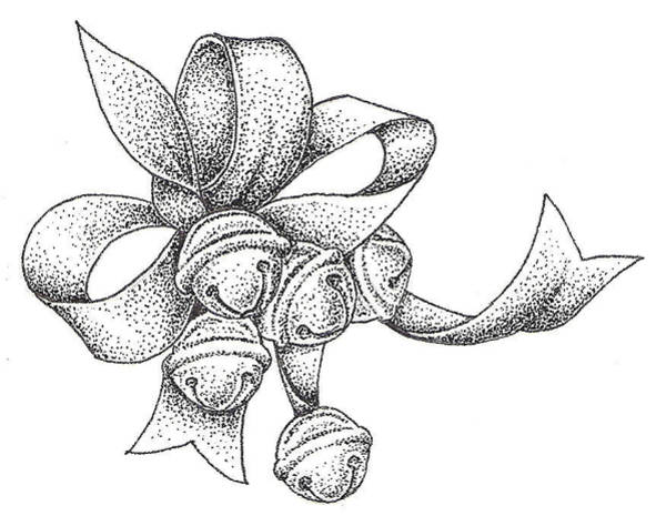 Holiday Drawing - Christmas Bells by Christy Beckwith