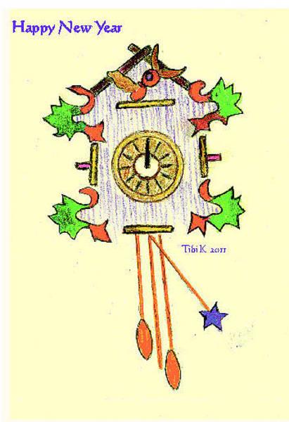 Cuckoo Drawing - Christmas Card by Tibi K