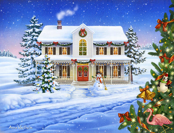 Mixed Media - Christmas Cottage by Anne Wertheim