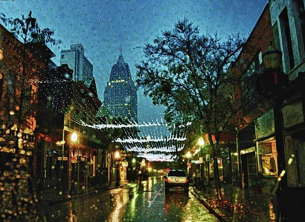 Town Square Digital Art - Christmas Lights Down Dauphin Street by Michael Thomas