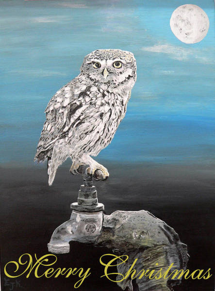 Mixed Media - Christmas Little Owl by Eric Kempson