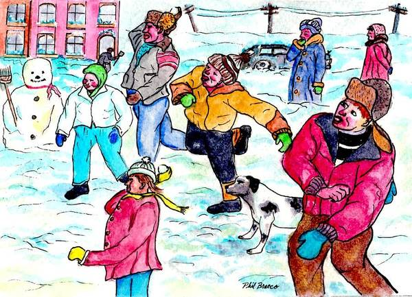 Painting - Christmas Snow Ball Fight by Philip Bracco