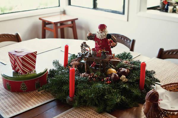Photograph - Christmas Table Wreath by Lorraine Devon Wilke
