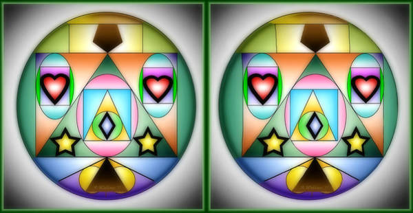 Stereoscopy Digital Art - Christmas Tree - Gently Cross Your Eyes And Focus On The Middle Image by Brian Wallace