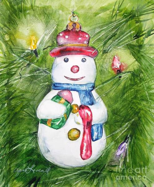 Painting - Christmas Tree Snowman by Jane Loveall