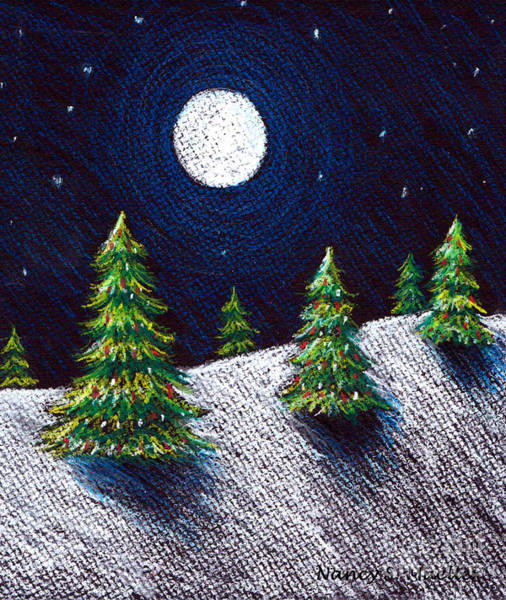 Evergreen Trees Drawing - Christmas Trees II by Nancy Mueller