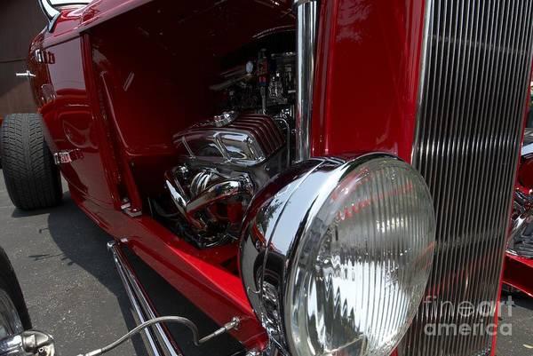 Chrome Engine Vintage Car Art Print