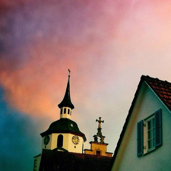 Church And Red Sky At Sunset Art Print
