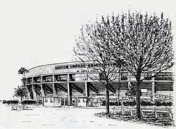 Painting - Cincinnati Reds/al Lopez Stadium Tampa Florida by Frank Hunter