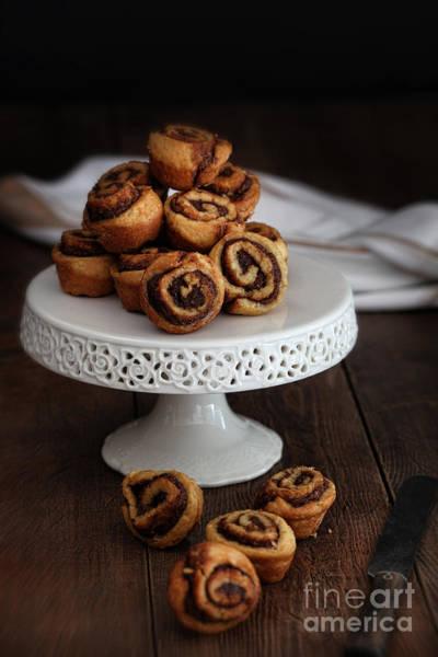 Cinnamon Buns Photograph - Cinnamon Pinwheel Rolls On Cake Stand by Sandra Cunningham