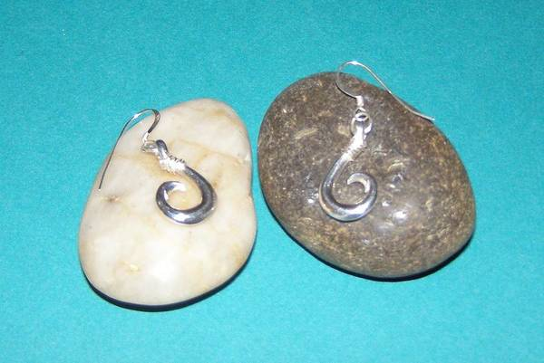 Sterling Silver Wall Art - Jewelry - Circle Hook Earrings by Carey Chen