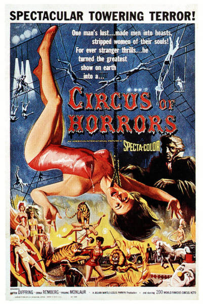 Trapeze Photograph - Circus Of Horrors, Poster Art, 1960 by Everett