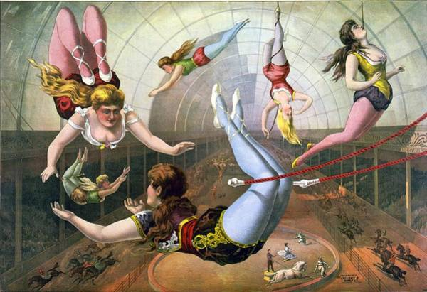 Trapeze Photograph - Circus Poster With Female Aerial by Everett