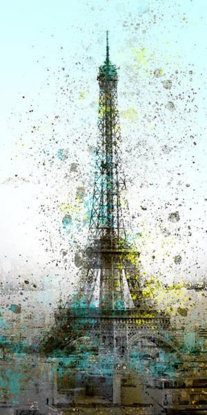 Cyan Digital Art - City-art Paris Eiffel Tower II by Melanie Viola