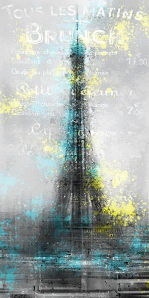 Cyan Digital Art - City-art Paris Eiffel Tower Letters by Melanie Viola