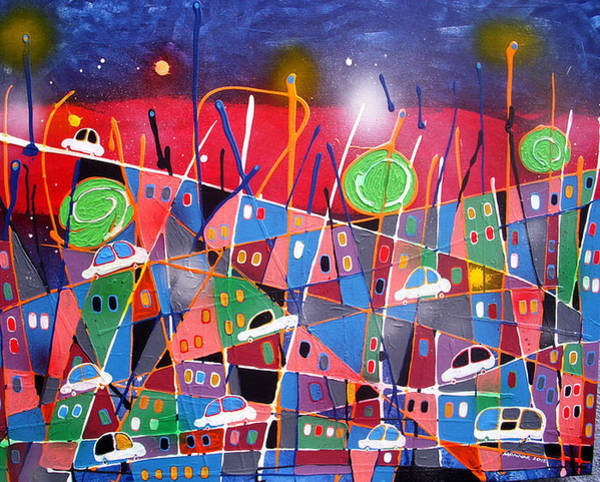 Wall Art - Mixed Media - City Lights by Monnar Baldemor