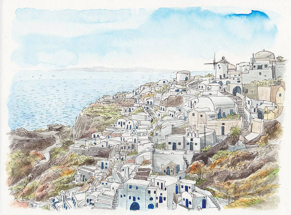 South Lake Digital Art - Cityscape Of Santorini, Greece, Illustration by Multi-bits