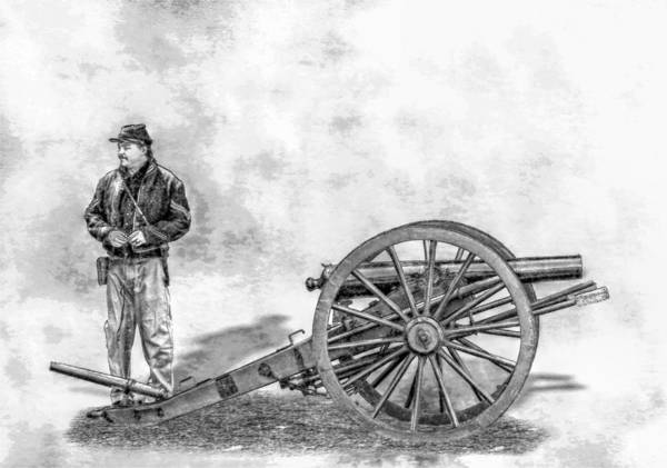 Civil War Union Artillery Corporal With Cannon Sketch Art Print