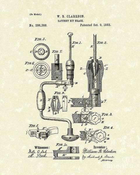 Drill Bits Wall Art - Drawing - Clarkson Bit Brace 1883 Patent Art  by Prior Art Design